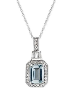 Aquamarine (1 Ct. T.w.) & Diamond (1/5 Ct. T.w.) 18 Pendant Necklace In 14k White Gold