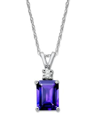 14k White Gold Necklace, Amethyst (1-5/8 Ct. T.w.) And Diamond Accent Pendant