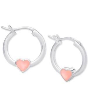 Children's Pink Heart Hoop Earrings In Sterling Silver