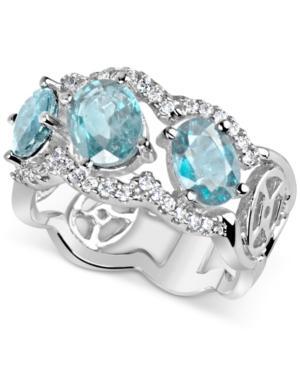 Aquamarine (2-3/4 Ct. T.w.) & Diamond (1/3 Ct. T.w.) Ring In 14k White Gold