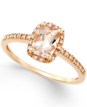 Morganite (3/4 Ct. T.w.) And Diamond (1/10 Ct. T.w.) Ring In 14k Rose Gold
