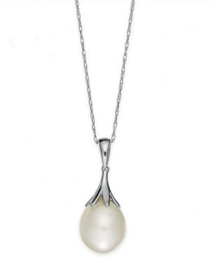 Pearl Necklace, 14k White Gold Cultured Freshwater Pearl Claw Pendant