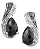 Sterling Silver Onyx & Diamond (1/10 Ct. T.w.) Earrings