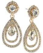 Abs By Allen Schwartz Gold-tone Crystal Teardrop Earrings