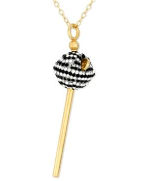Sis By Simone I Smith 18k Gold Over Sterling Silver Necklace, Black And White Crystal Mini Lollipop Pendant