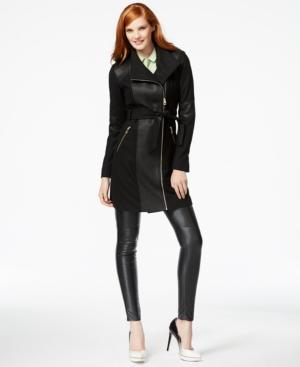 Guess Mixed-media Asymmetrical-zip Coat