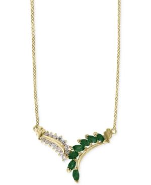 Effy Emerald (9/10 Ct. T.w.) And Diamond (1/4 Ct. T.w.) Collar Necklace In 14k Gold