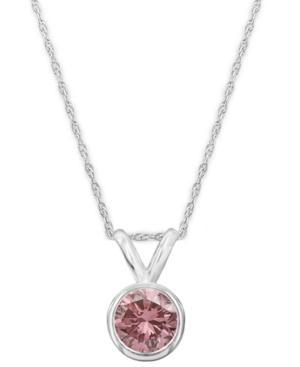 14k White Gold Necklace, Pink Diamond Bezel Pendant (1/4 Ct. T.w.)