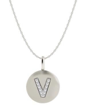 14k White Gold Necklace, Diamond Accent Letter V Disk Pendant