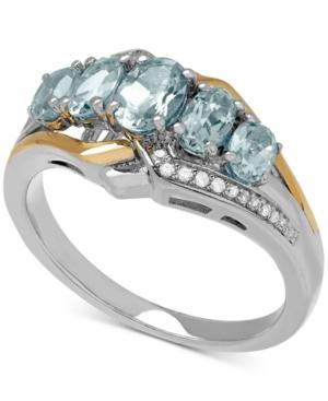 Aquamarine (1-1/10 Ct. T.w.) And Diamond Accent Ring In Sterling Silver And 14k Gold