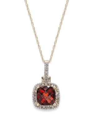 10k Gold Garnet (1-3/4 Ct. T.w.) And Diamond Accent Pendant Necklace