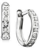 14k Yellow Or White Gold Earrings, Diamond Accent Hoop Earrings