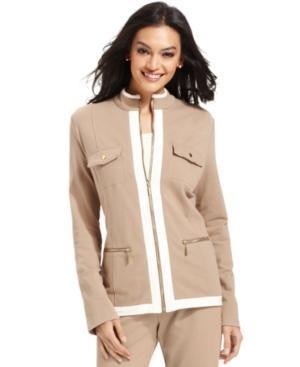 Jm Collection Contrast-trim Zip-up Jacket