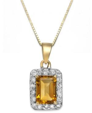 Citrine (1 Ct. T.w.) And Diamond (1/5 Ct. T.w.) Pendant Necklace In 14k Gold