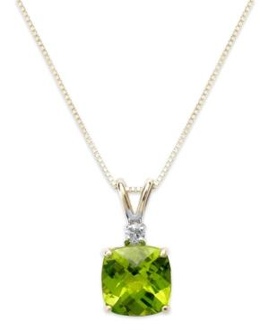 14k Gold Necklace, Peridot (1-5/8 Ct. T.w.) And Diamond Accent Cushion Pendant