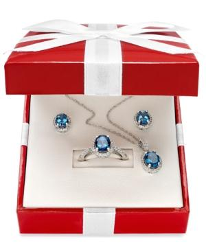 Sterling Silver Jewelry Set, London Blue Topaz And White Topaz Earrings, Pendant And Ring Set (5-1/2 Ct. T.w.)