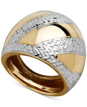 Two-tone Dome Ring In 14k Gold & Rhodium-plate