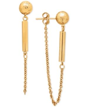 Textured Ball Stud And Dangle Chain Drop Earrings In 14k Gold
