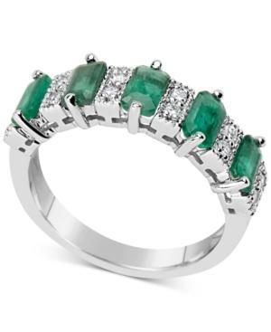 Emerald (2-3/8 Ct. T.w.) & Diamond (1/6 Ct. T.w.) Ring In 14k White Gold