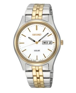 Seiko Watch, Men's Solar Two Tone Stainless Steel Bracelet 37mm Sne032