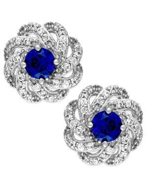 Sapphire (5/8 Ct. T.w.) And Diamond (1/3 Ct. T.w.) Knot Earrings In 14k White Gold