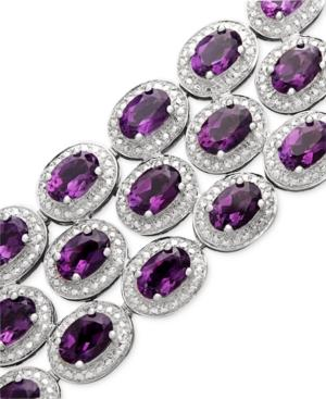 Sterling Silver Bracelet, Amethyst Three Row Bracelet (25 Ct. T.w.)