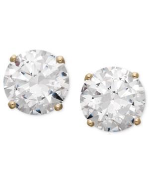 Arabella 14k Gold Earrings, Swarovski Zirconia Round Stud Earrings (3-1/2 Ct. T.w.)