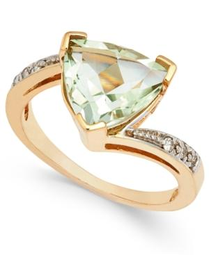 Green Quartz (3-1/4 Ct. T.w.) And Diamond Accent Ring In 14k Gold