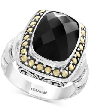 Eclipse By Effy Onyx (14 X 10mm) Ring In Sterling Silver & 18k Gold
