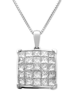 Diamond Square Cluster 18 Pendant Necklace (1 Ct. T.w.) In 14k White Gold