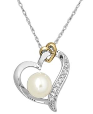 14k Gold And Sterling Silver Necklace, Cultured Freshwater Pearl (8mm) And Diamond Accent Heart Pendant