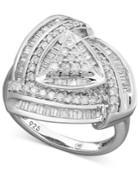 Diamond Ring, Sterling Silver Diamond Trillion Ring (1 Ct. T.w.)