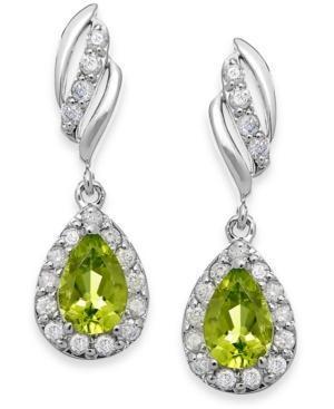 Peridot (9/10 Ct. T.w.) And Diamond (1/3 Ct. T.w.) Drop Earrings In 14k White Gold