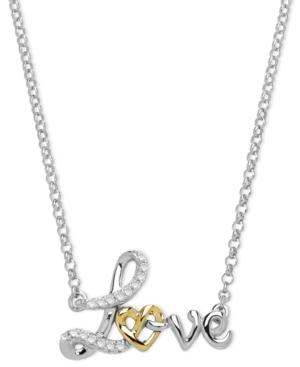 14k Gold And Sterling Silver Necklace, Diamond Accent Love Pendant