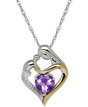 Amethyst (1-1/10 Ct. T.w.) And Diamond Accent Mother And Child Pendant Necklace In Sterling Silver And 14k Gold