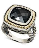 14k Gold And Sterling Silver Ring, Onyx Square Ring (6-3/4 Ct. T.w.)
