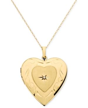 14k Gold Necklace, Diamond Accent Locket