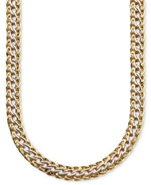 14k Gold Over Sterling Silver And Sterling Silver Necklace, Mesh