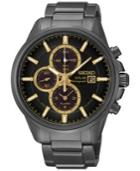 Seiko Men's Solar Chronograph Black-tone Stainless Steel Bracelet Watch 42mm Ssc269