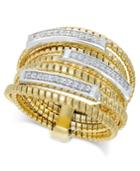 Diamond Multi-layer Statement Ring (1/4 Ct. T.w.) In 14k Gold-plated Sterling Silver