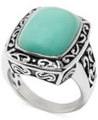 Manufactured Turquoise Rectangle Ring In Sterling Silver (5 Ct. T.w.)