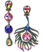 Betsey Johnson Oilslick-tone Multi-stone Peacock Mismatch Drop Earrings