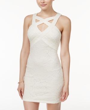 Crystal Doll Juniors' Lace Crisscross Bodycon Dress