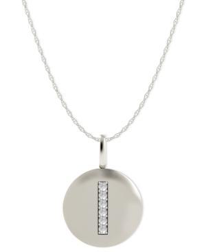 14k White Gold Necklace, Diamond Accent Letter I Disk Pendant