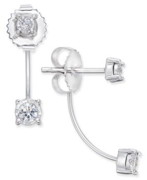 Diamond Drop Front And Back Earrings (1/4 Ct. T.w.) In 14k White Gold