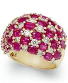 Ruby (8-1/6 Ct. T.w.) And Diamond (1-1/2 Ct. T.w.) Checkerboard Ring In 14k Gold