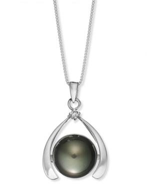 Sterling Silver Necklace, Cultured Tahitian Pearl (11mm) And Diamond Accent Pendant