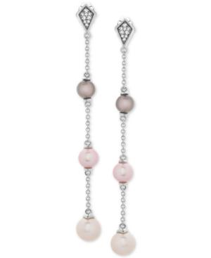 Cultured Freshwater Pearl (6, 7 & 8mm) & Diamond Accent Drop Earrings In Sterling Silver