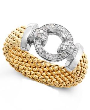 Diamond Mesh And Circle Accent Ring In Vermeil And Sterling Silver (1/5 Ct. T.w.)