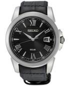 Seiko Men's Solar Sport Black Leather Strap Watch 43mm Sne397